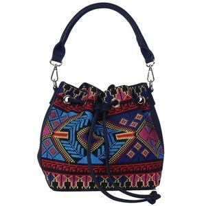 Needlepoint Drawstring Bucket Bag